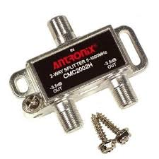 Antronix 2 way splitter for stacking 2 HDTV Antennas into one coax connection